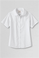Lands' End Girl's Short Sleeve Oxford Shirt - Peter Pan Collar