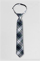 Lands' End Tie: White Plaid Pre-Tied