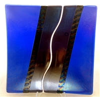 "Chris Paulson 9.5"" Cobalt Blue Glass Tray"
