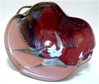Alan Higinbotham Red, amber, and green Porcelain Super Large Serving Bowl with handles