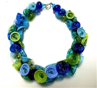 "Alicia Niles 16"" Hand Blown Green Blue Pod Glass Necklace"