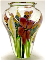 David Lotton Large hand Blown Glass Clematis Paperweight Vase