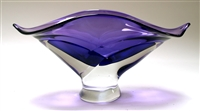 Ed Branson Hand Blown Glass Small Amethyst Wave Bowl