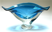 Ed Branson Hand Blown Glass Small Turquoise Wave Bowl