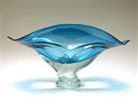 Ed Branson Hand Blown Glass LargeTurquoise Wave Bowl