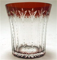Faberge' Hand Blown and Cut Red and Clear Crystal Vase