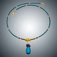 Judy Bliss London Blue Quartz and Amethyst Bead Necklace