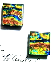 Michele McManus Gold, Rust, and Blue Strata Dichroic Cufflinks