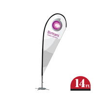 Bandera Indoor 15ft. | Black | Teardrop | Single-Sided Graphic Package