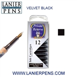 Private Reserve Velvet Black 12 Pack Cartridge Fountain Pen Ink C01 - Lanier Pens