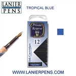 Private Reserve Tropical Blue 12 Pack Cartridge Fountain Pen Ink C36 - Lanier Pens