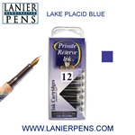 Private Reserve Lake Placid Blue 12 Pack Cartridge Fountain Pen Ink C02 - Lanier Pens