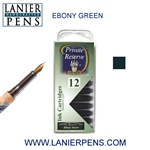 Private Reserve Ebony Green 12 Pack Cartridge Fountain Pen Ink C40 - Lanier Pens