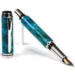 Baron Fountain Pen - Turquoise Box Elder Burl