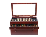 Mahogany Pen Chest with Glass Top - 46 Pens
