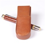 Aston Leather Pen Box Round – Tan Double