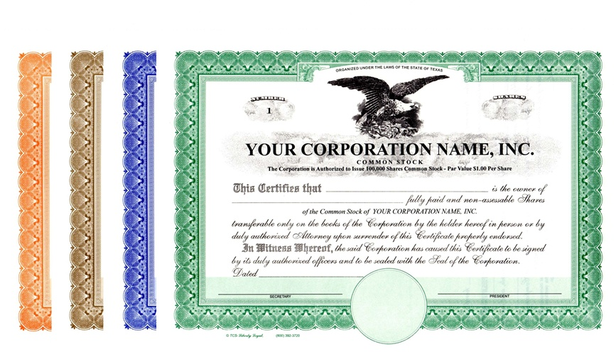 Corporation Stock Certificates  Printable Stock Certificates
