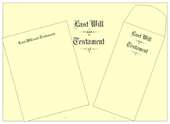 "Will Kit Legal Size Testament Ledger ""Last Will and Testament"""