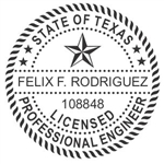 "Texas Professional Engineer Round Self-Inking Stamp, 1-5/8"" Diameter"