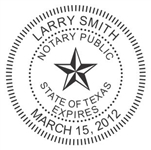 "Texas Notary Seal on New & Improved Ideal Seal, 1-5/8"" Diameter"