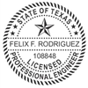 "Texas Professional Engineer Pocket Seal on New Ideal Seal, 1-5/8"" Diameter"