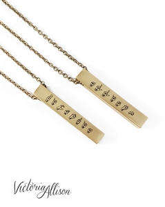 ASL Necklace, Sign Language Jewelry, Personalized Name Necklace, Brass Bar Pendant, Unisex, ASL Jewelry, ASL Gifts , Sign Language Gift