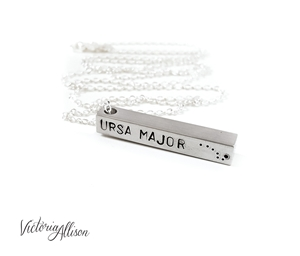 Zodiac Bar Necklace on Silver Plated Chain, Constellation Necklace, Zodiac Jewelry, , Modern, Unisex, Personalized, Long Necklace, Zodiac Pendant, Birthday