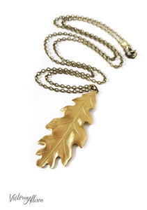 Large Brass Leaf Necklace, Oak Leaf, Antiqued Brass Chain, Fall Statement Jewelry, Leaf Jewelry