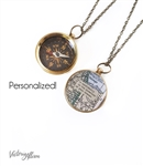 Large Working Compass Necklace with Custom Map and Personalized Quote on Chain or Key Chain