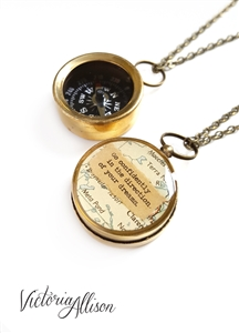 Small Map Quote Compass Necklace - Go confidently in the direction of your dreams, or Personalized Quote - Working Compass Brass or Silver