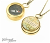 Small Map Quote Compass Necklace - Not All Those Who Wander Are Lost or Personalized Quote - Working Compass Brass or Silver
