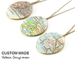 Custom Large Oval Brass Map Locket Necklace on Brass Chain