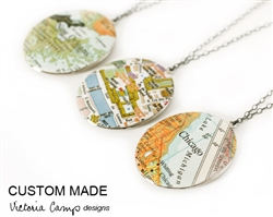 Custom Large Oval Silver Map Locket Necklace on Sterling Silver Chain