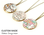 Custom Round Brass Map Locket Necklace on Brass Chain