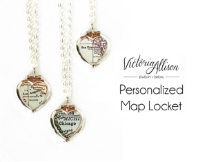 Custom Tiny Silver Map Heart Locket Necklace on Sterling Silver Chain