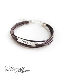 PUPO Bracelet, IVF Jewelry, Leather Wrap Style Bracelet, Infertility Jewelry, Faux Wrap Bracelet, Sterling Silver, IVF Gift, Inspirational