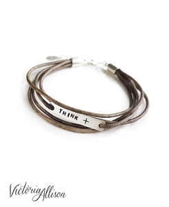 Think Positive Bracelet, Leather Wrap Style Bracelet, Infertility Jewelry, IVF Jewelry, Sterling Silver, IVF Gift, Think +, Faux Wrap
