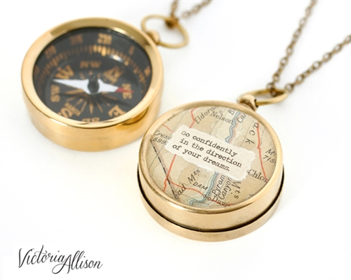 Working Compass Necklace With Vintage Map And Thoreau Or Personalized Quote