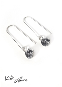 Sterling Silver Moon Earrings on Long Hooks