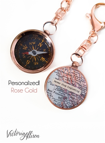 large gold compass custom map key chain personalized quote