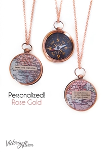 Large Rose Gold Compass Necklace, Custom Map, Personalized Quote, Working Compass, Graduation Gift, Moving Gift, Inspirational Quote