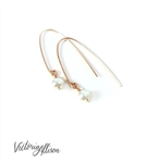 Rose Gold Earrings with White Freshwater Pearl Drop