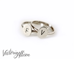 Personalized Sterling Silver Initial Ring - Tiny Hand Stamped Oval - Custom Made