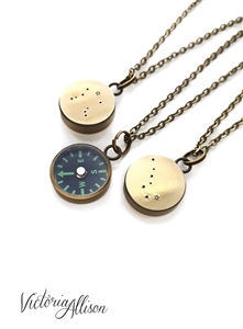 Small Working Compass Necklace with Star Design, Zodiac Jewelry, Personalized Constellation, Birthday Gift, Antiqued Brass Chain