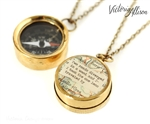 Small Working Compass Necklace with Vintage Map and Robert Frost Quote - The Road Not Taken - or Personalized Quote