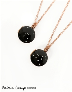 Custom Tiny Rose Gold Locket Necklace with Hand-Painted Zodiac Constellation