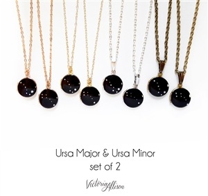 Ursa Major Ursa Minor Constellation Necklace, Set of Two, Locket, Big Dipper, Little Dipper, Sisters, BFF, Mother Daughter, Gold, Silver, Rose Gold