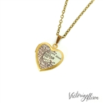 Small Boston Map Necklace on Vintage Heart Locket - Massachusetts Antique Map Jewelry