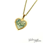 Small Brooklyn Map Necklace on Vintage Heart Locket - New York Antique Map Jewelry