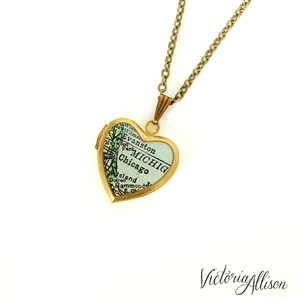 Small Chicago Map Necklace on Vintage Heart Locket - Illinois Antique Map Jewelry